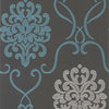 Suzette Aqua Modern Damask Wallpaper