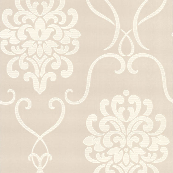 Suzette Taupe Modern Damask Wallpaper