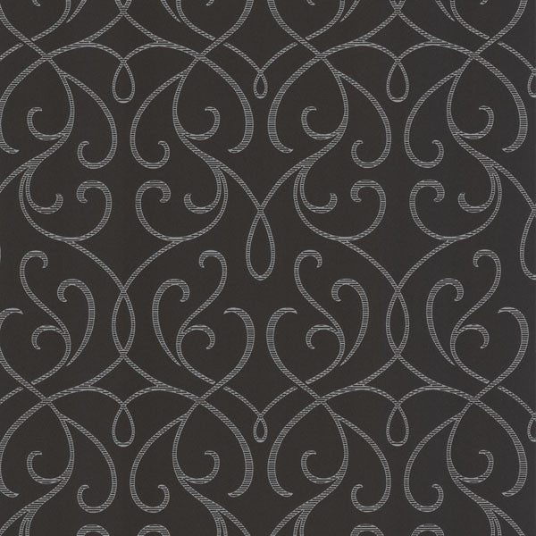 Alouette Charcoal Mod Swirl Wallpaper