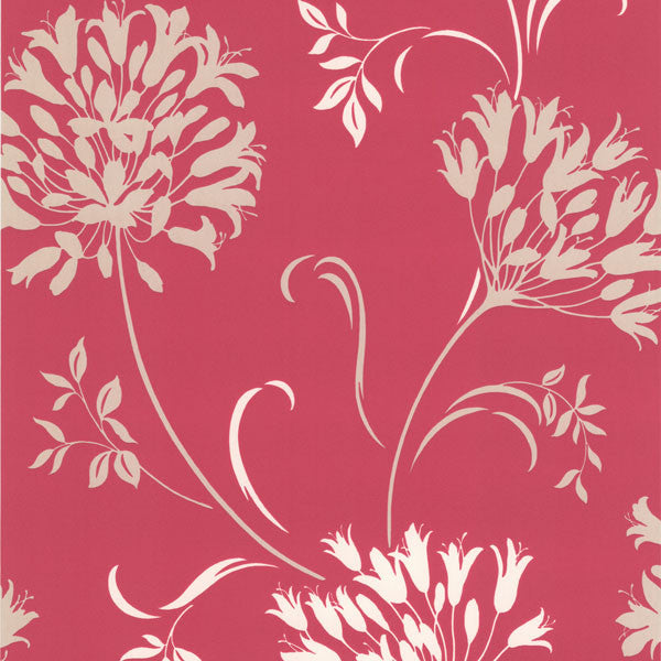 Nerida Pink Floral Silhouette Wallpaper
