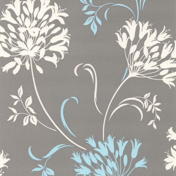 Nerida Light Grey Floral Silhouette Wallpaper