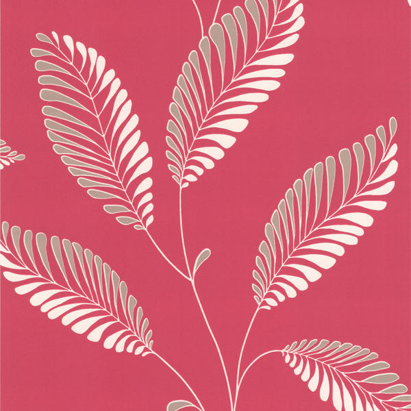 Aubrey Pink Modern Leaf Trail Wallpaper