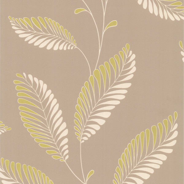 Aubrey Taupe Modern Leaf Trail Wallpaper