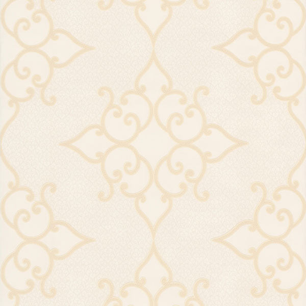 Sebastian Cream Crepe Moroccan Medallion Wallpaper