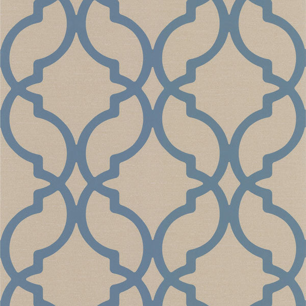 Harira Blue Moroccan Trellis Wallpaper