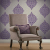 Pastiche Purple Classical Motif Wallpaper