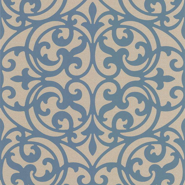 Sonata Blue Ironwork Wallpaper