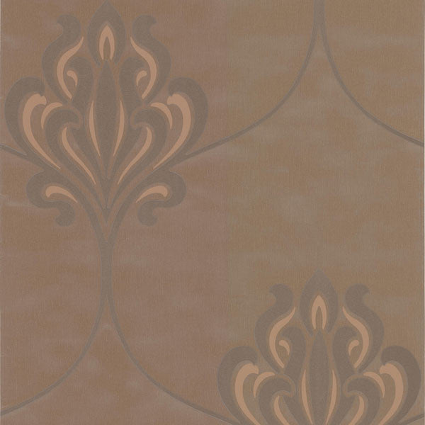 Orfeo Brown Nouveau Damask Wallpaper