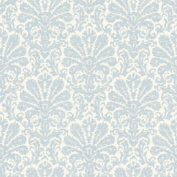 Seascape Blue Damask Wallpaper