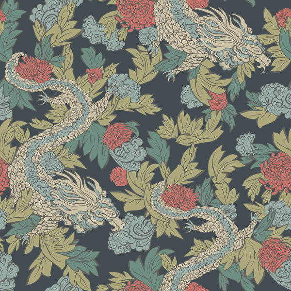 Dwell Studio Ming Dragon Wallpaper - Blues in Blue