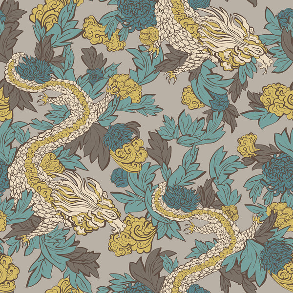 Dwell Studio Ming Dragon Wallpaper - Blacks in Black