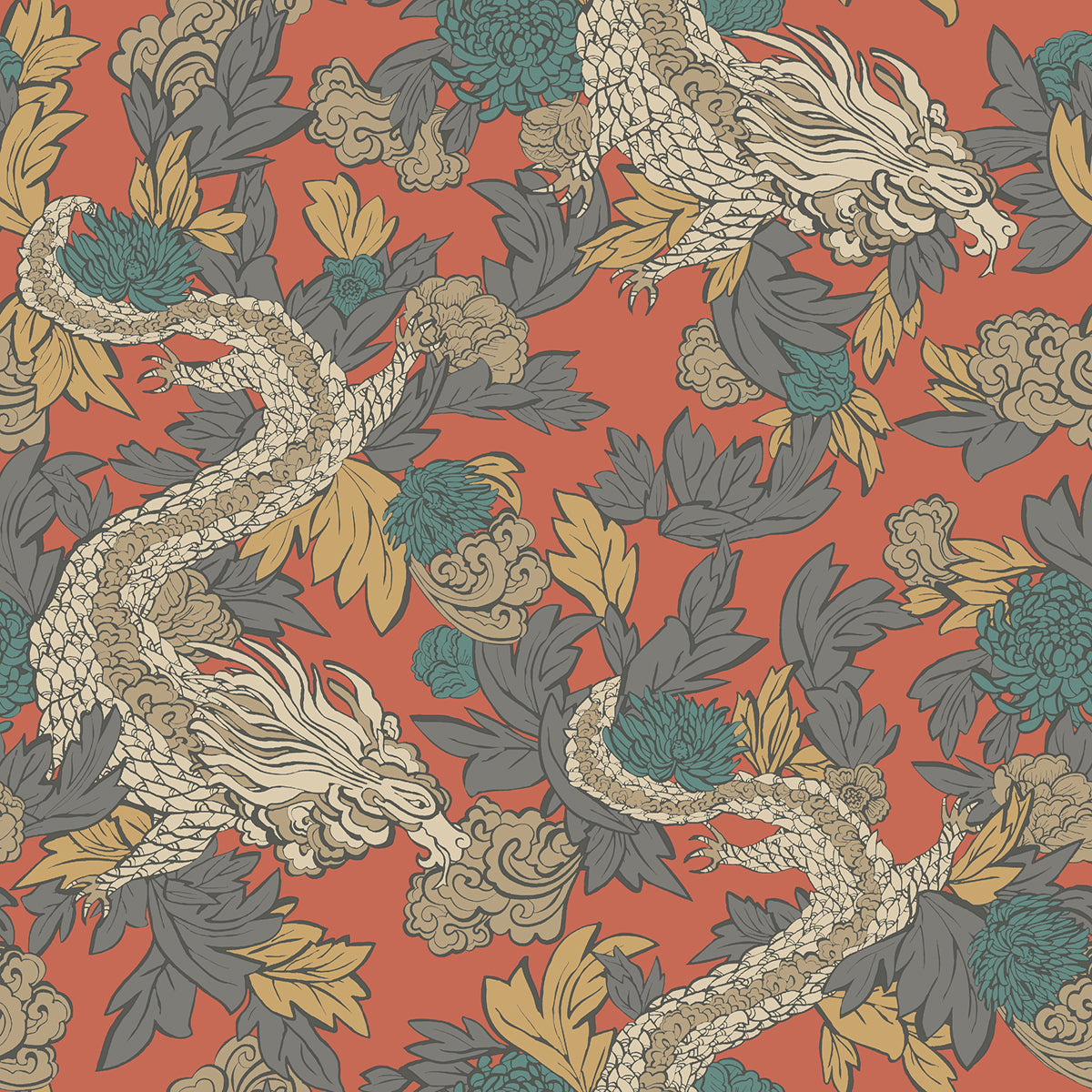 Dwell Studio Ming Dragon Wallpaper - Oranges in Orange/rust