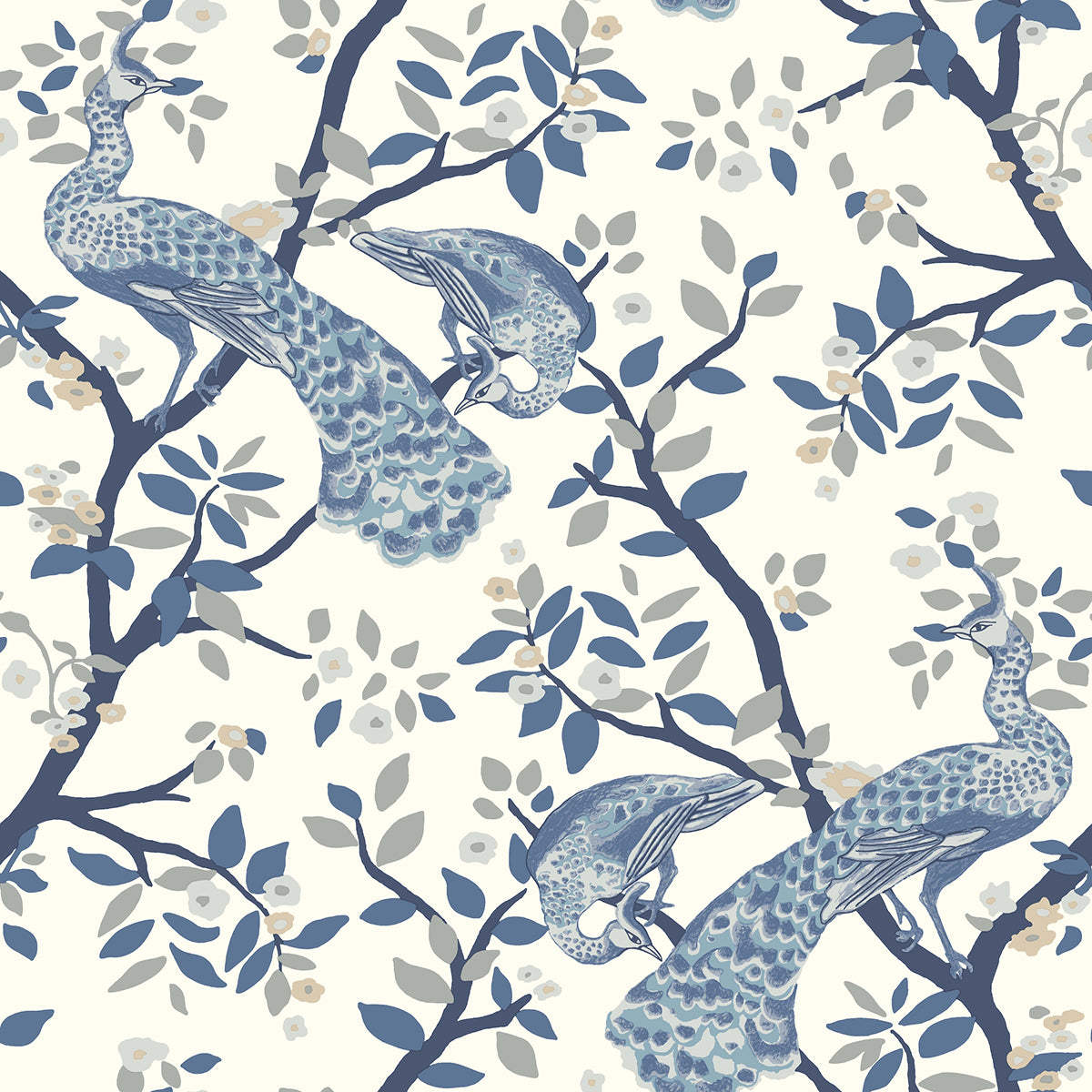Dwell Studio Plume Wallpaper - Blues in Blue