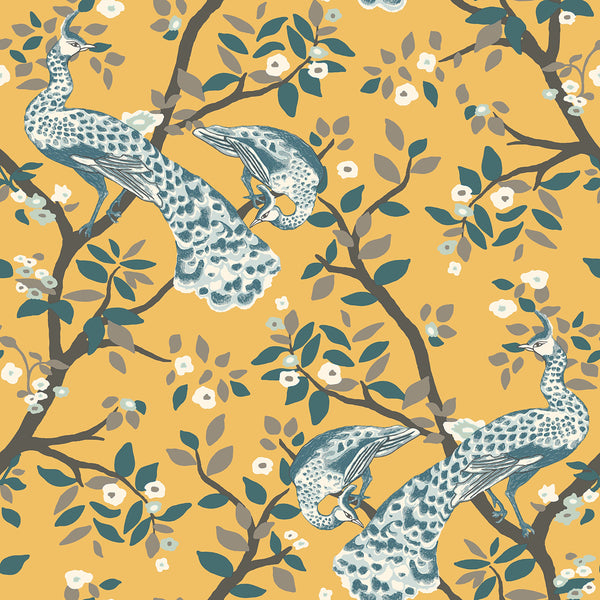 Dwell Studio Plume Wallpaper - Yellows in Yellow/gold