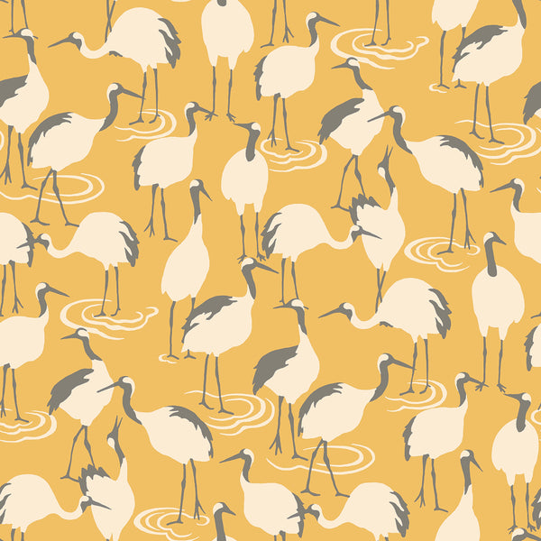 Dwell Studio Winter Cranes Wallpaper - Yellows in Yellow/gold