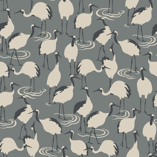 Dwell Studio Winter Cranes Wallpaper - Blacks in Black