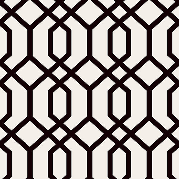 Trellis Black Montauk Wallpaper
