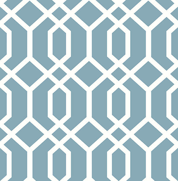 Trellis Blue Montauk Wallpaper