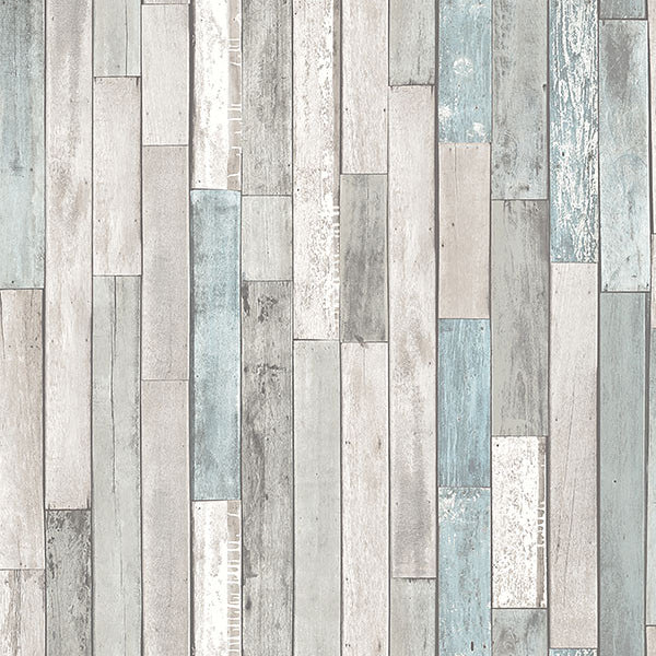 Barn Board Grey Thin Plank Wallpaper