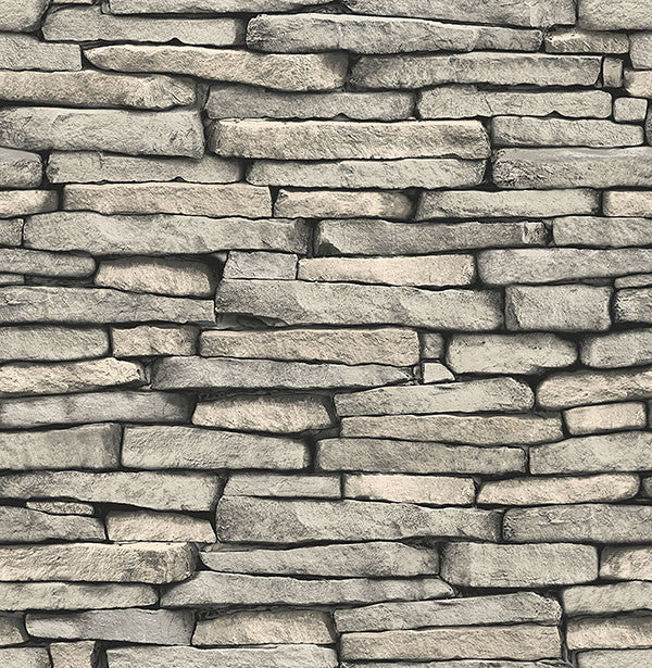Ledge Grey Slate Wall Wallpaper