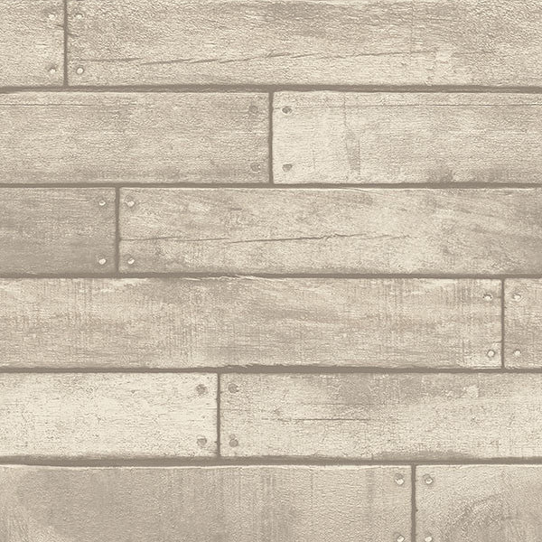 Weathered Grey Nailhead Plank Wallpaper