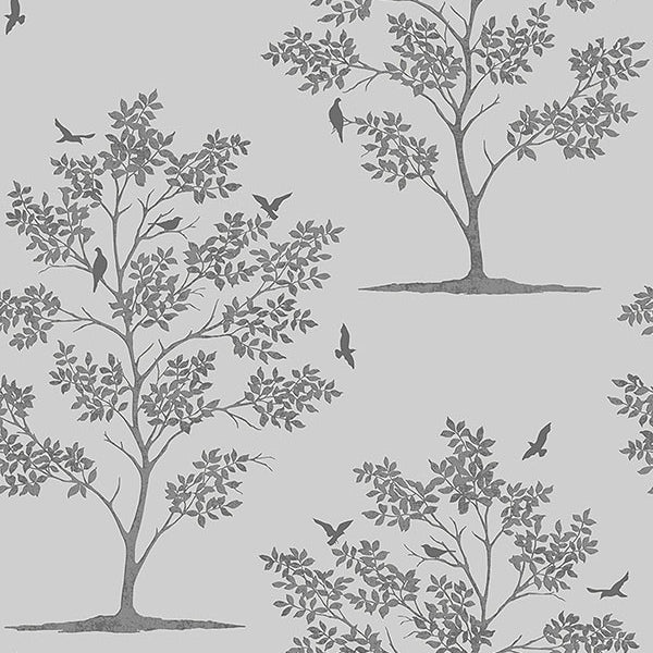 Woodland Grey Trees & Birds Wallpaper