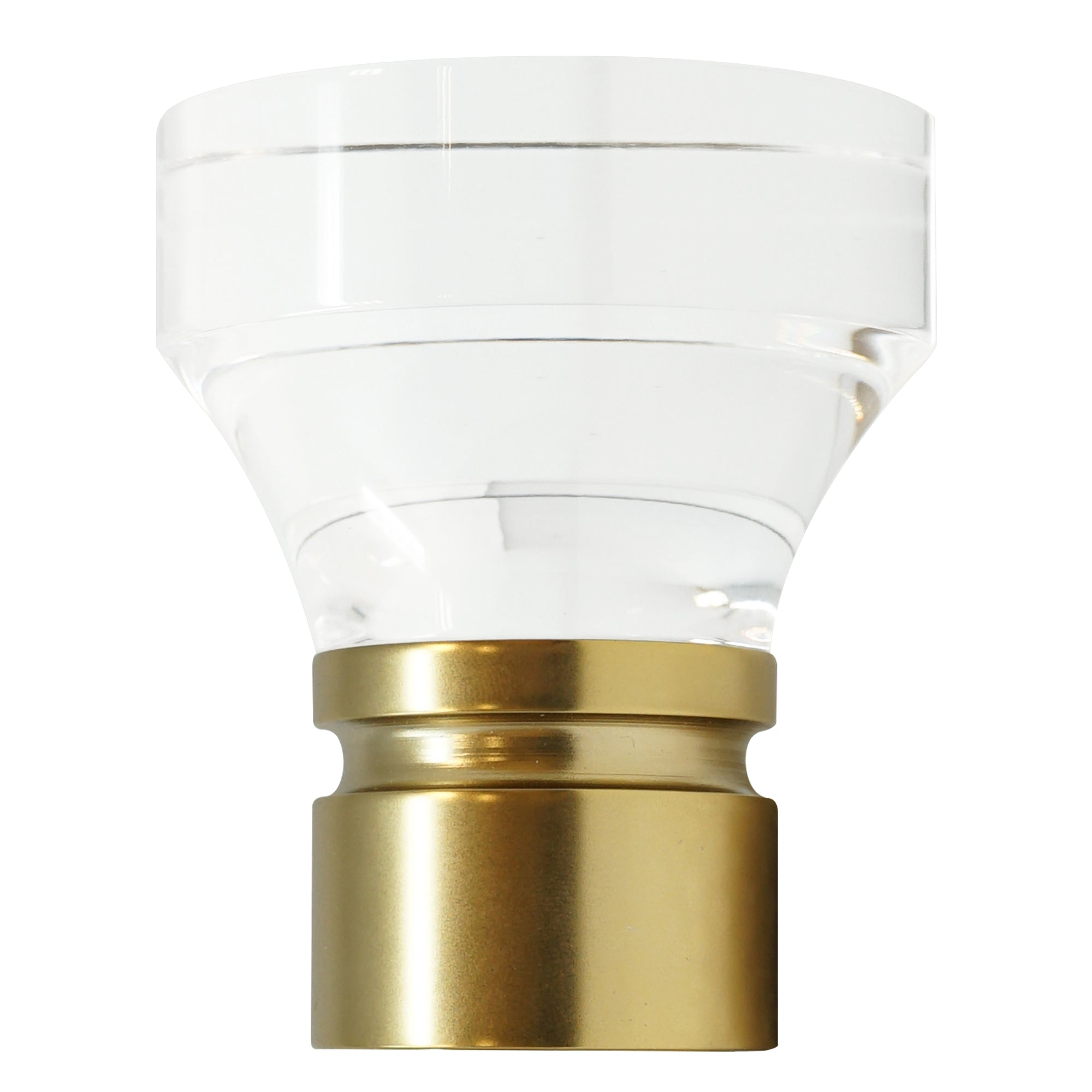 Acrylic Trumpet Finial - Satin Brass Finish