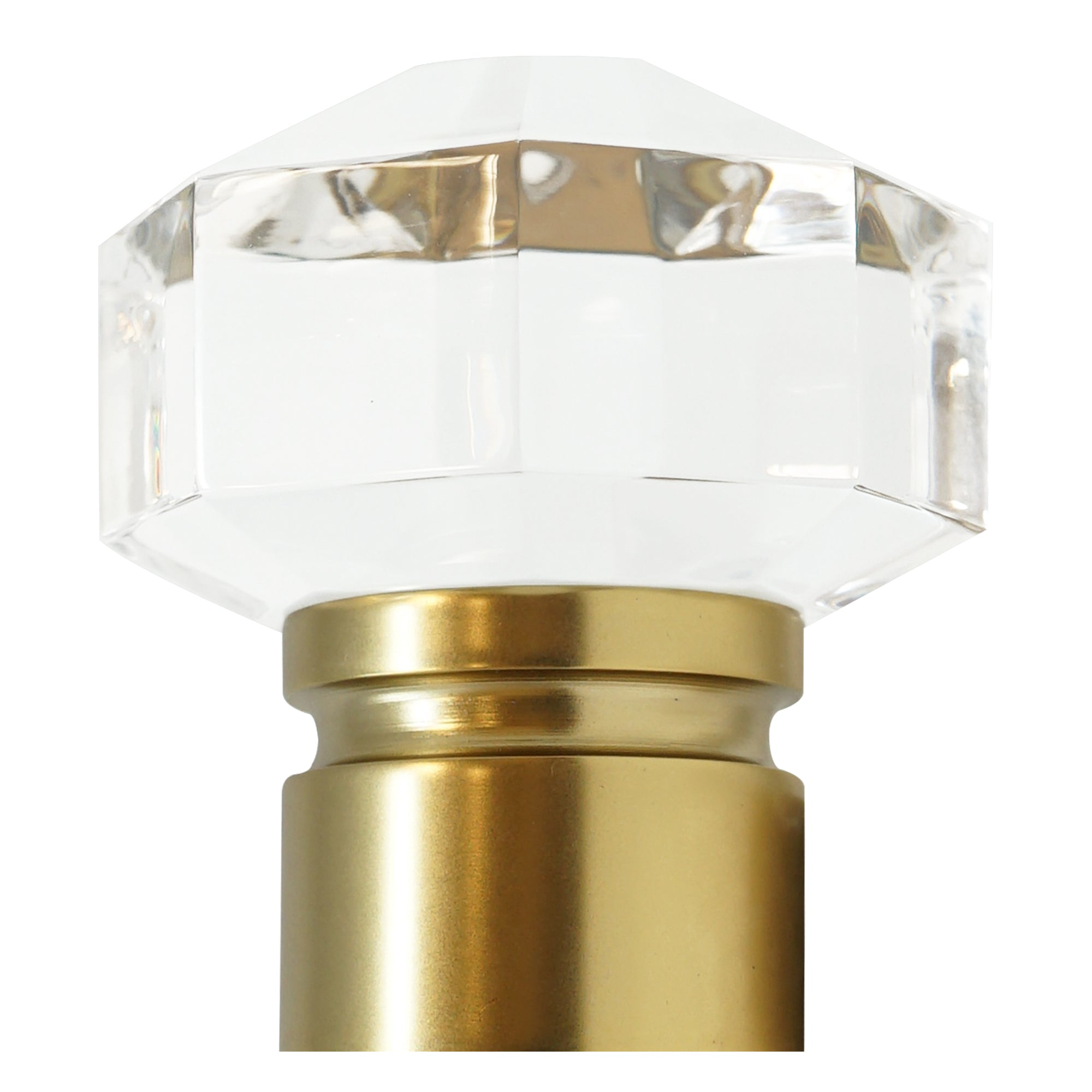 Diamond Cut Acrylic Finial - Satin Brass Finish