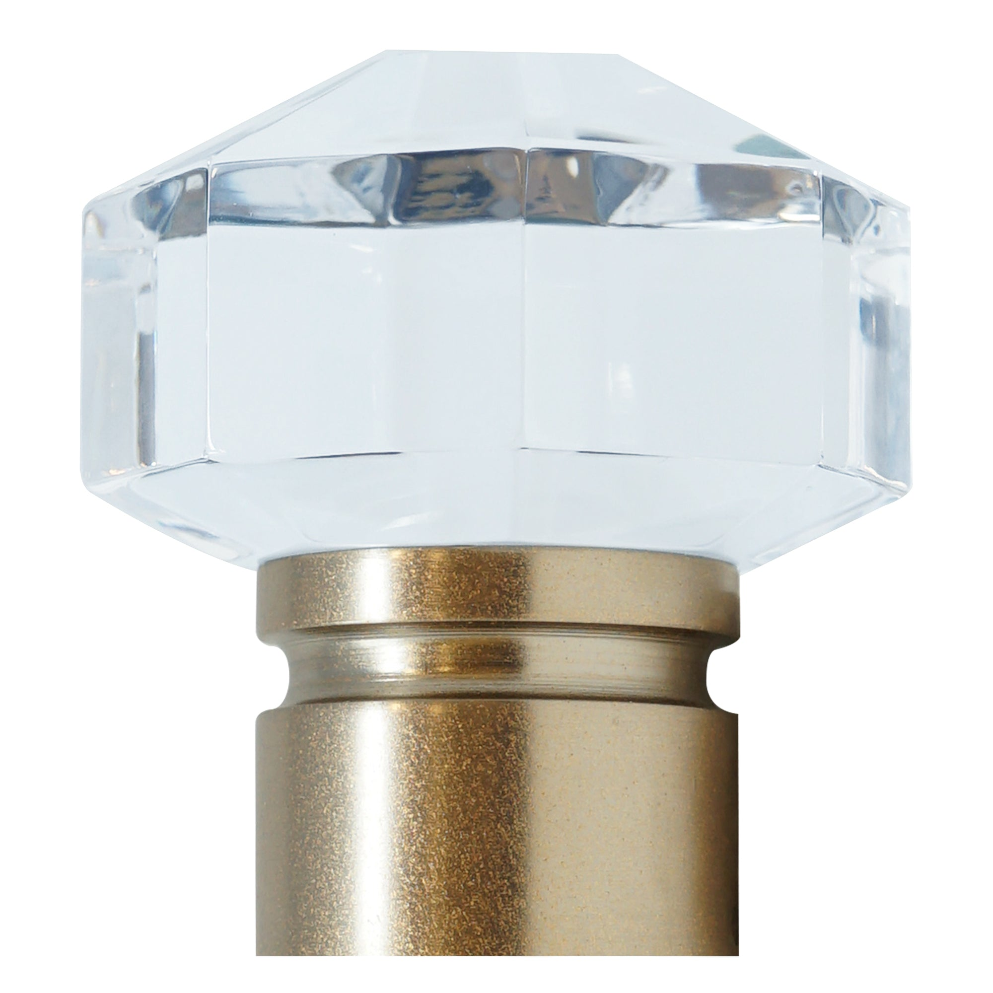 Diamond Cut Acrylic Finial - Rose Gold Finish