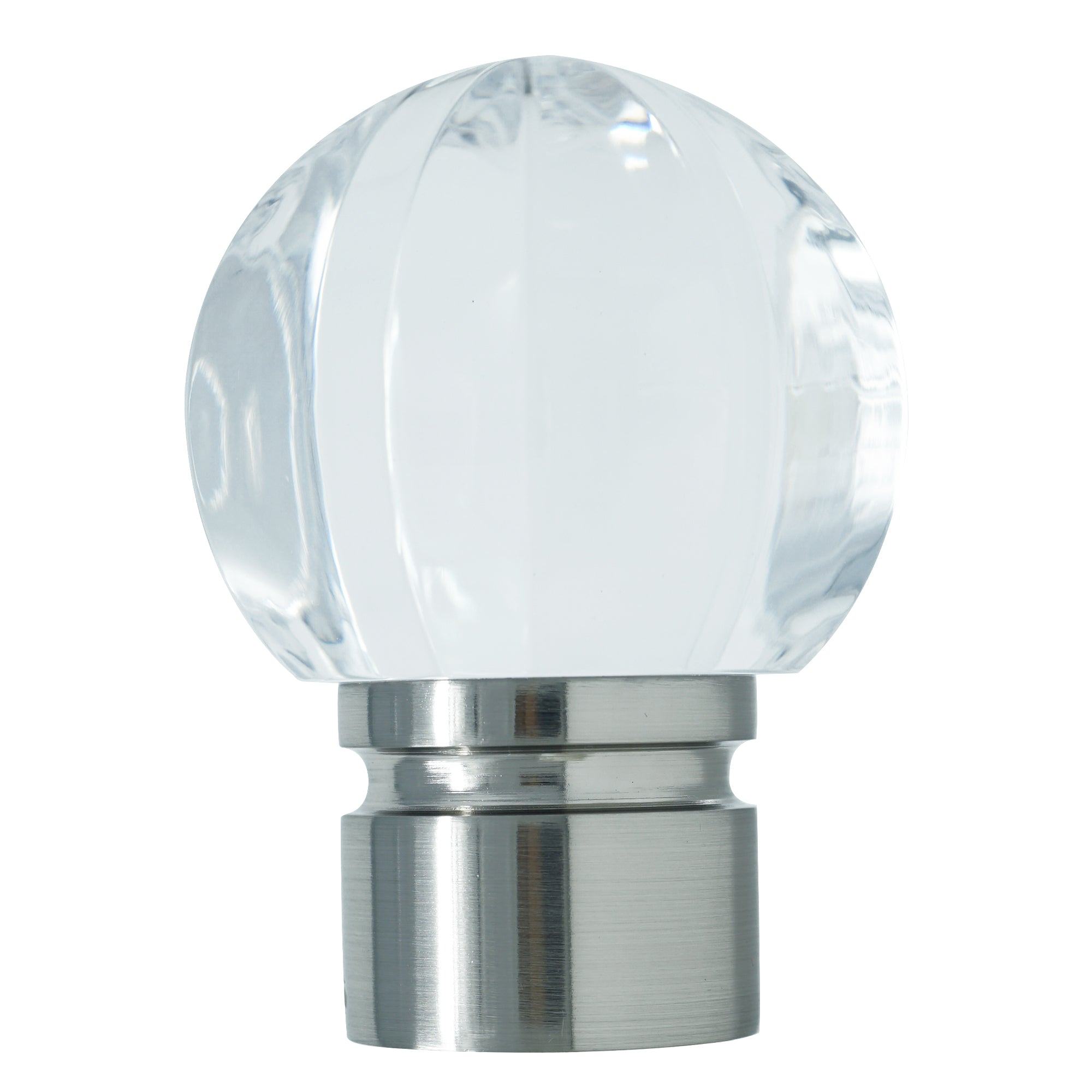 Acrylic Ball Finial - Brushed Nickel Finish