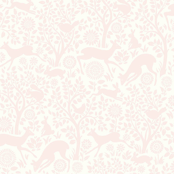 Anahi Light Pink Forest Fauna Wallpaper