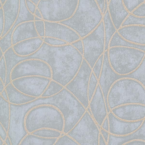 Novia Blue Geometric Swirl Wallpaper