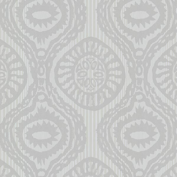 Marrakech Grey Medallion Stripe Wallpaper
