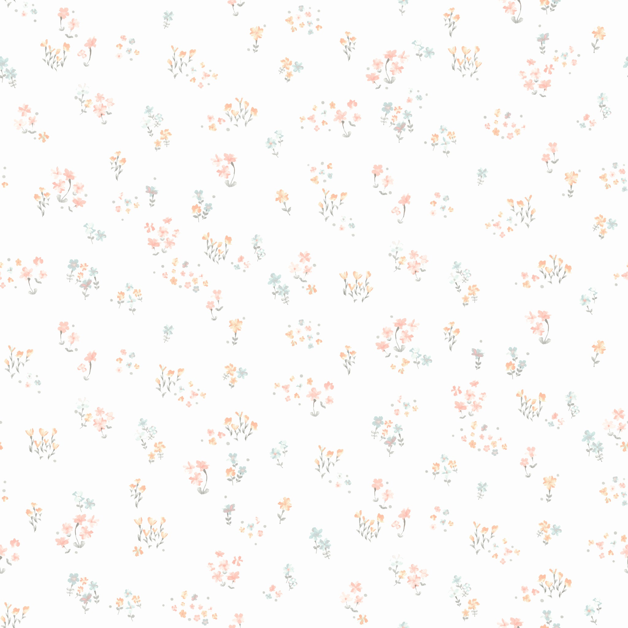 Watercolor Floral BouquetWallpaper in Peach,Aqua