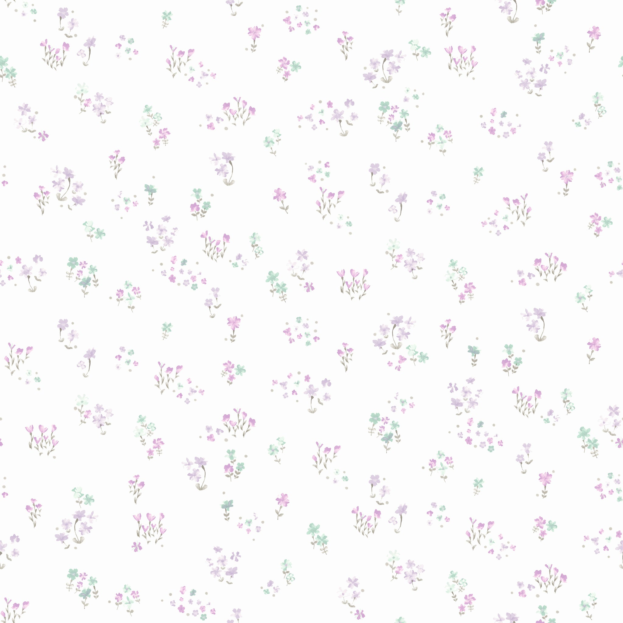 Watercolor Floral BouquetWallpaper in Purple