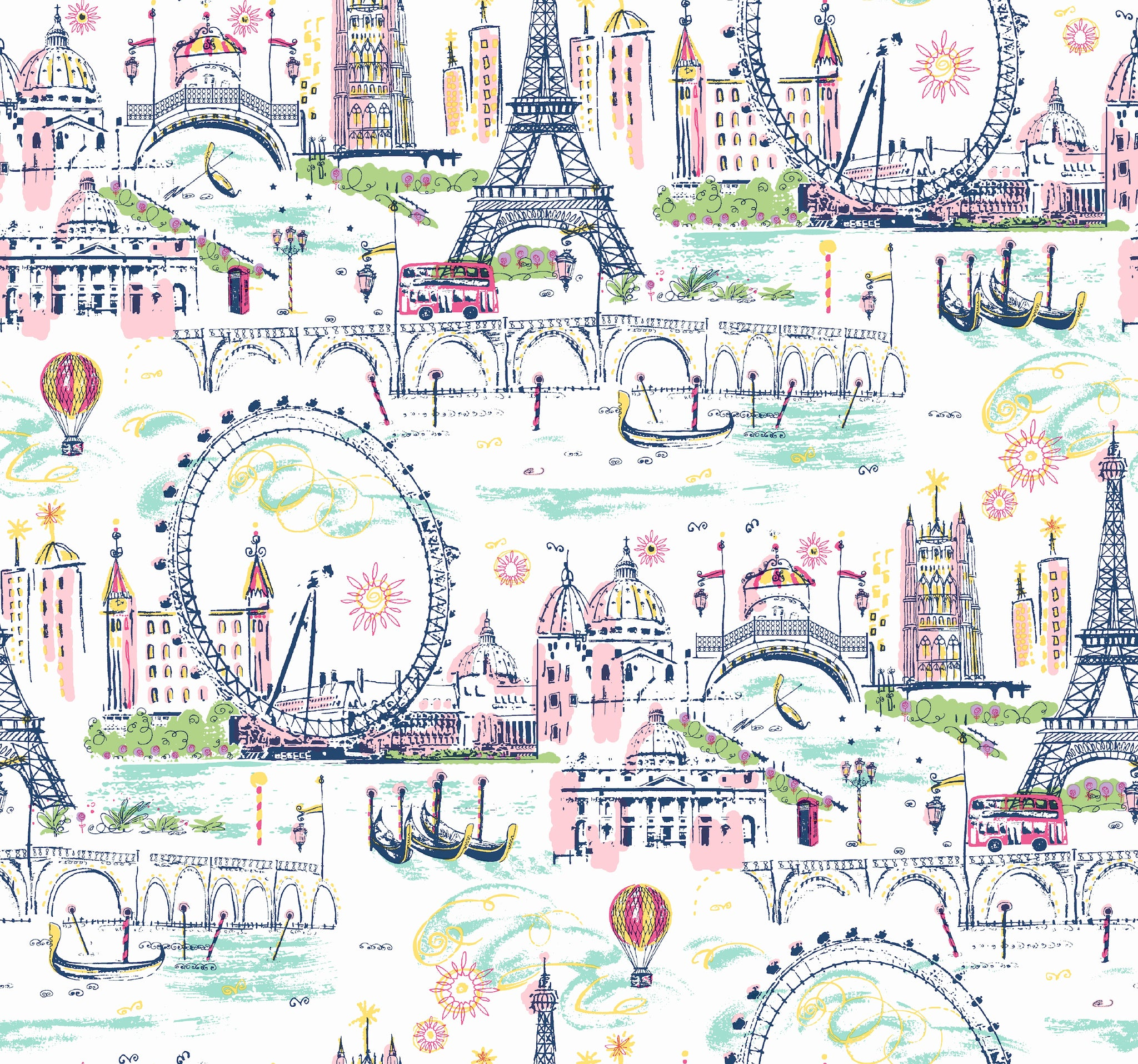 Novelty Euro ScenicWallpaper in Pink,Multi