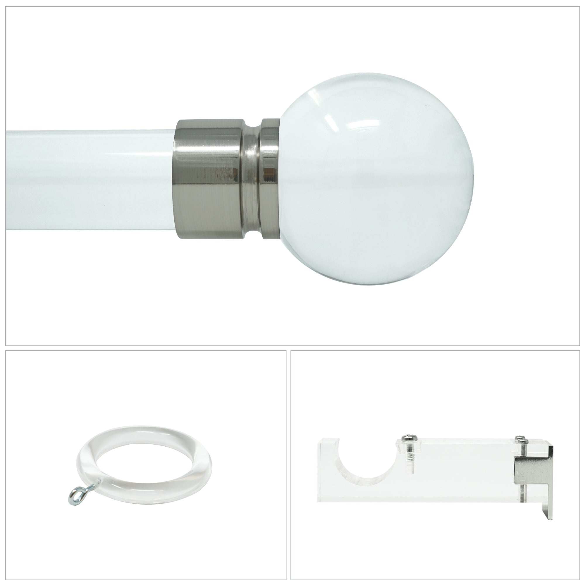 Natasha Acrylic Drapery Hardware - Brushed Nickel