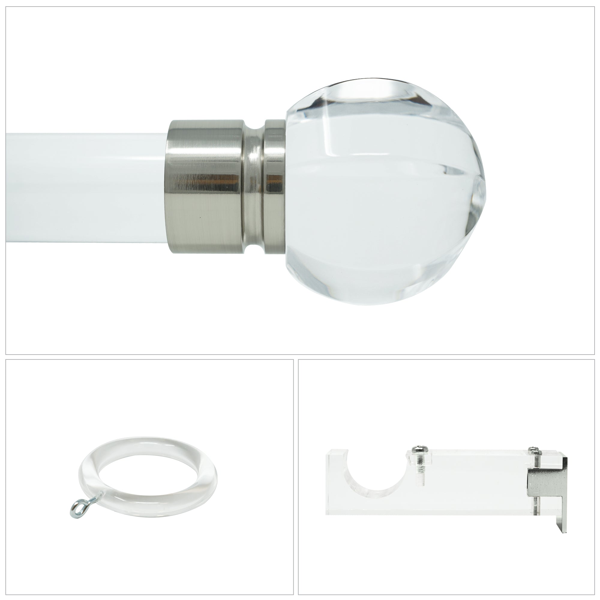 Paige Acrylic Drapery Hardware - Brushed Nickel