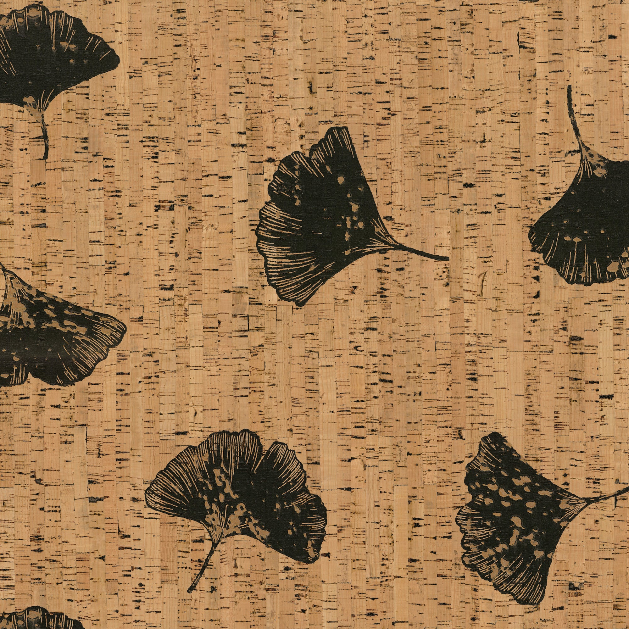 Organic Cork Prints Gingko Wallpaper
