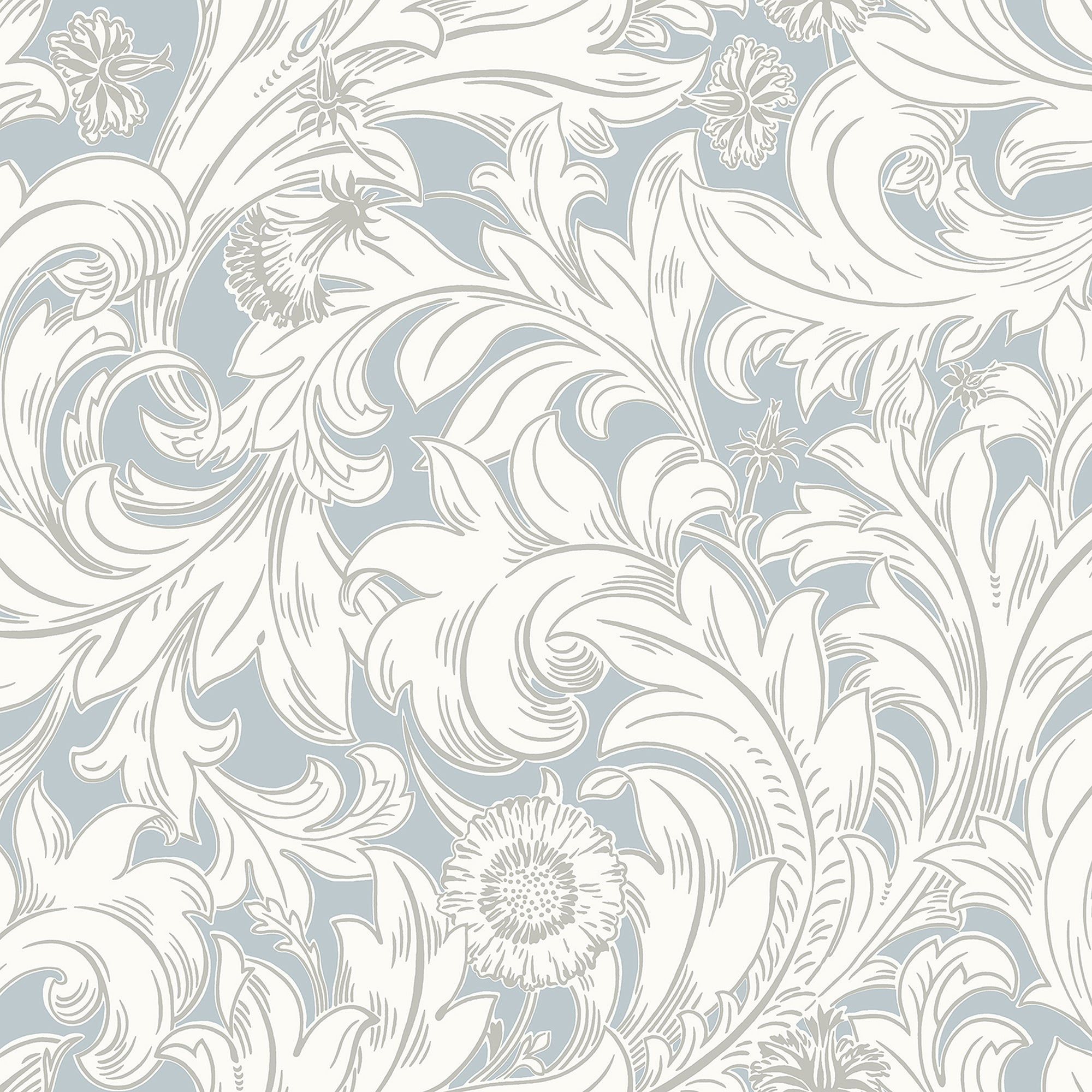 Ahu Light Blue Scroll Wallpaper