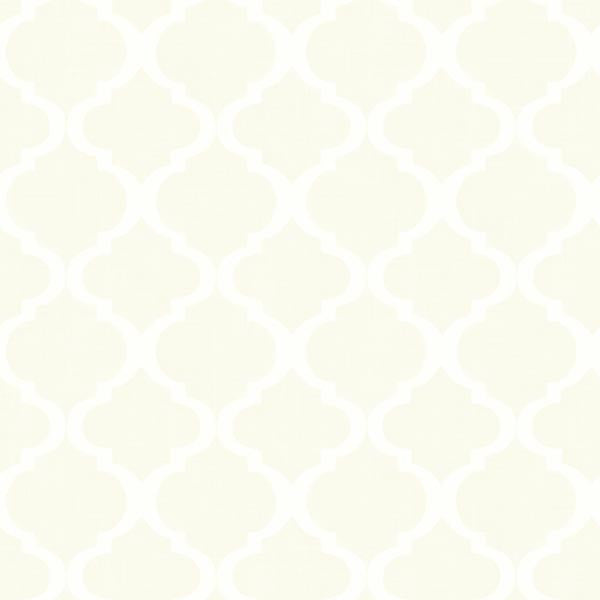 Tabitha Cream Watercolor Quatrefoil Wallpaper