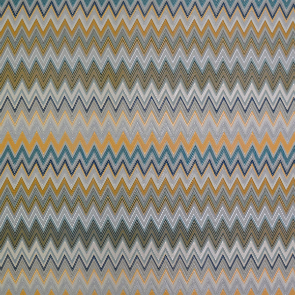 Missoni Home Zig Zag Multicolore Wallpaper - Silver/Peacock/Saffron in Blue