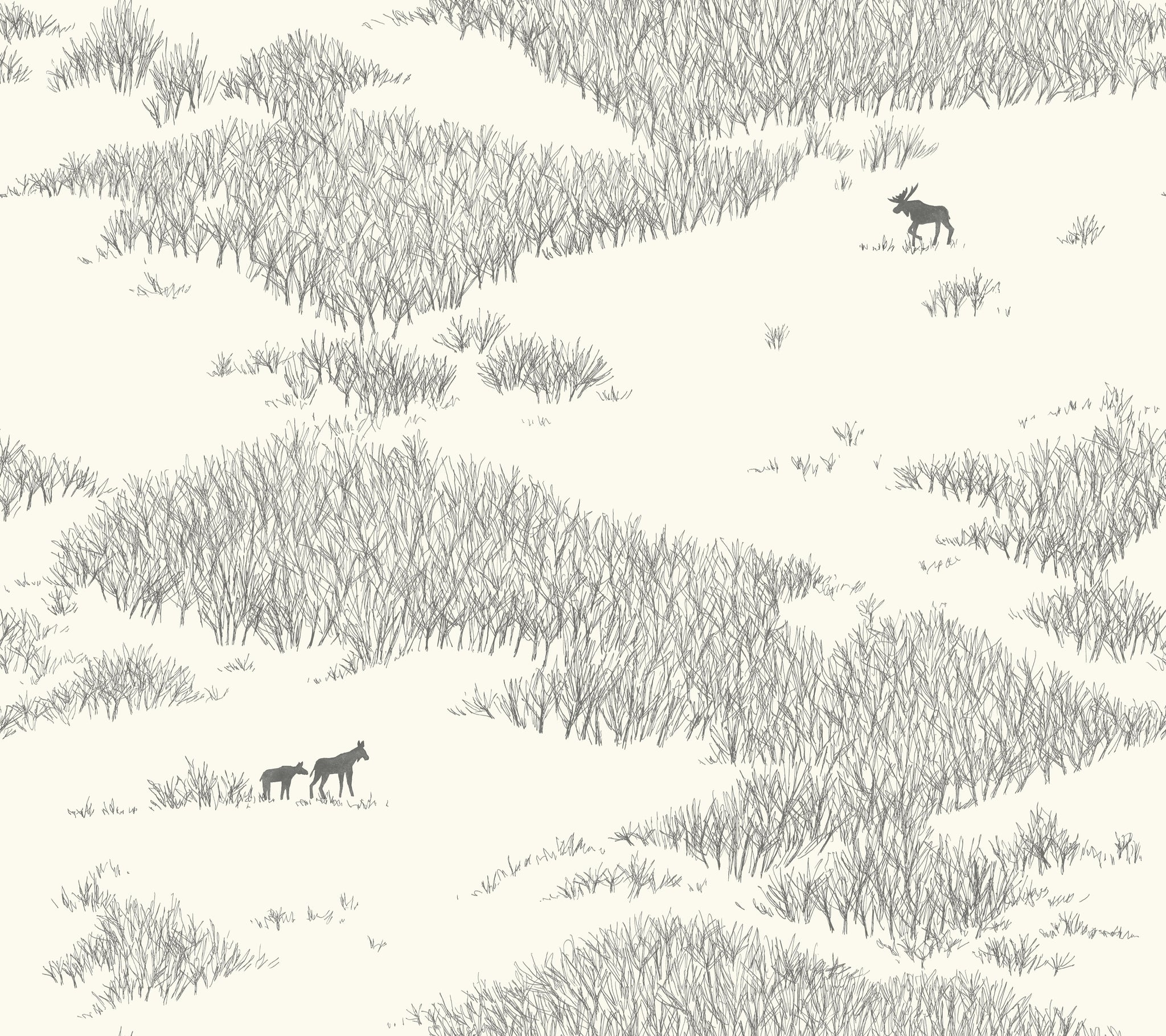 Wild Tundra Wallpaper in White,Off White