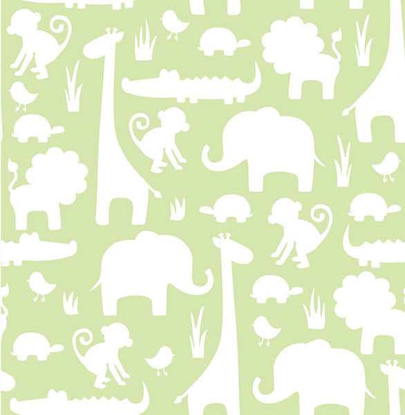 Green Its A Jungle In Here Peel and Stick Wallpaper