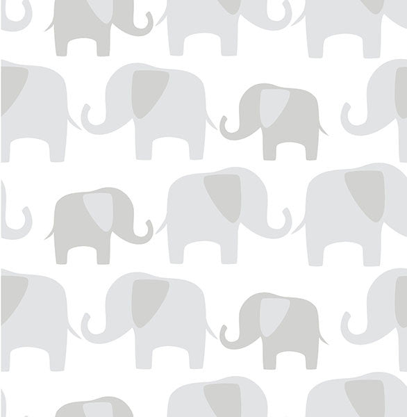 Grey Elephant Parade Peel and Stick Wallpaper