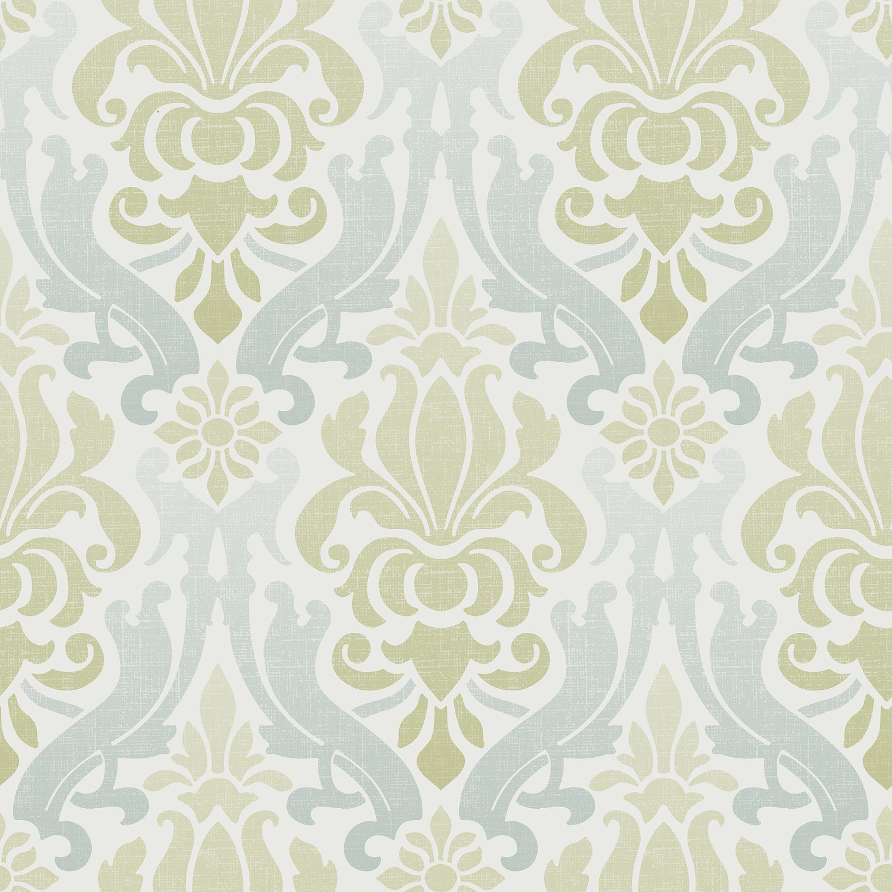 Blue and Green Nouveau Damask Peel and Stick Wallpaper