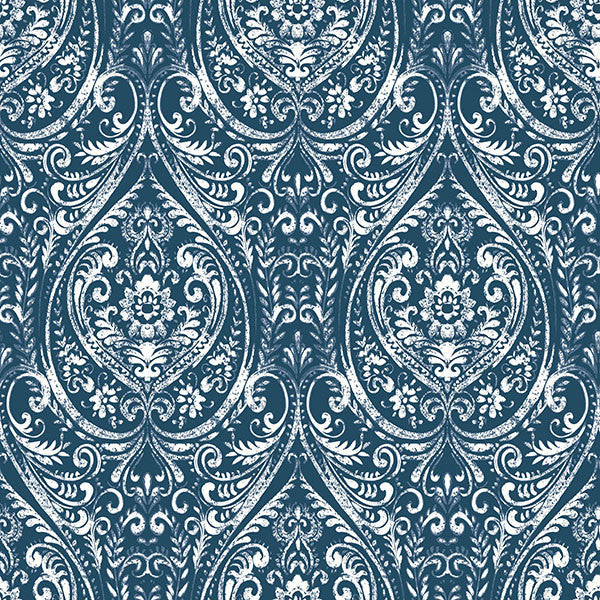 Bohemian Damask Indigo Peel and Stick Wallpaper