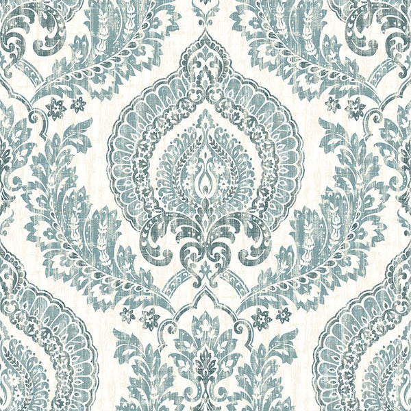 Kensington Damask Blue Peel and Stick Wallpaper