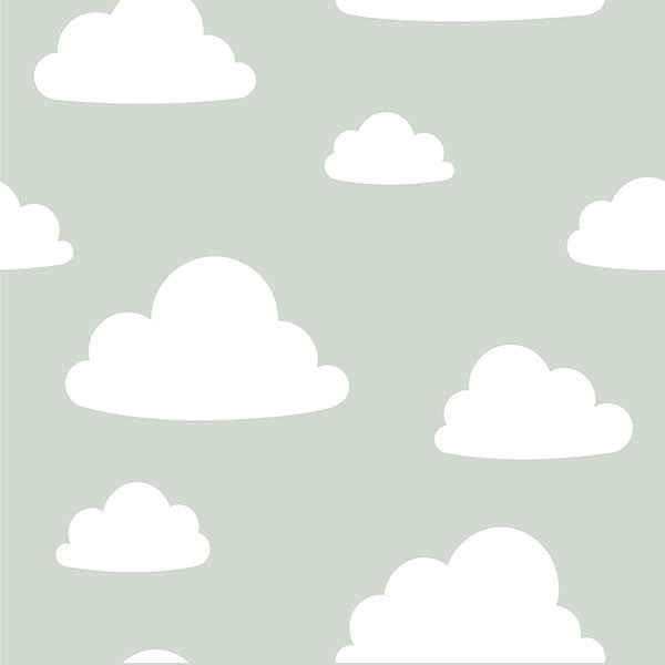 Clouds Grey Peel and Stick Wallpaper