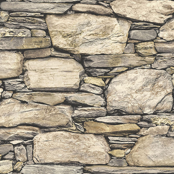 Hadrian Stone Wall Brown Texture Peel and Stick Wallpaper